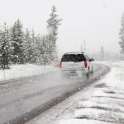 Driving in winter with adverse weather conditions
